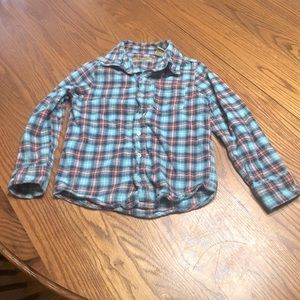 6/$20 Blue Ice flannel button up shirt size 6